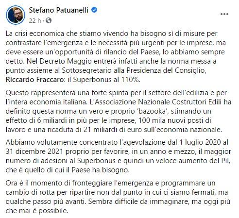 Il post Facebook del Ministro Stefano Patuanelli